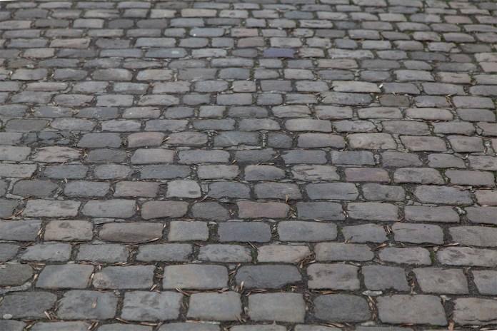 Мощення міських вулиць кісткою рядами навскіс